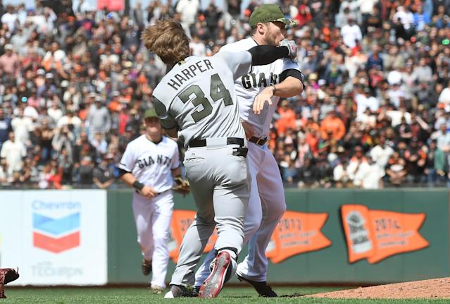 Bryce Harper vs. Hunter Strickland was nearly three years in the making. (AP Images)