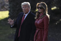 President Donald Trump and first lady Melania Trump walk on the South Lawn of the White House before boarding Marine One on February 14, 2020 in Washington, DC., to spend the weekend in his Mar-a-Lago. (Photo by Oliver Contreras/SIPA USA)