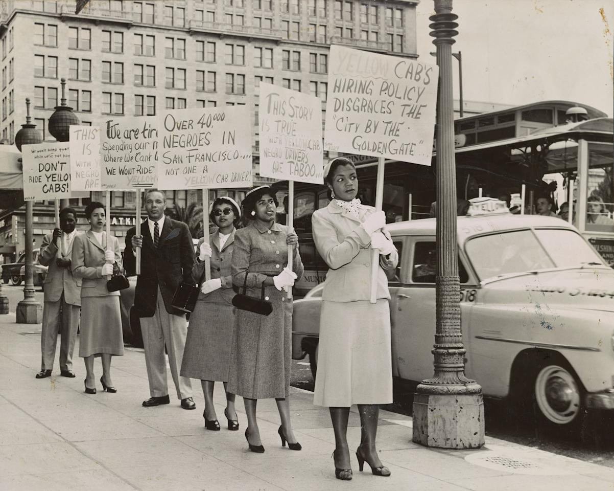 """<p>San Francisco NAACP members urge riders to boycott Yellow Cab and help stop hiring discrimination during a """"Don't Ride"""" campaign in 1955. (Photograph by Cox Studio, Visual Materials from the NAACP Records, Prints and Photographs Division, Library of Congress, Washington, D.C.) </p>"""
