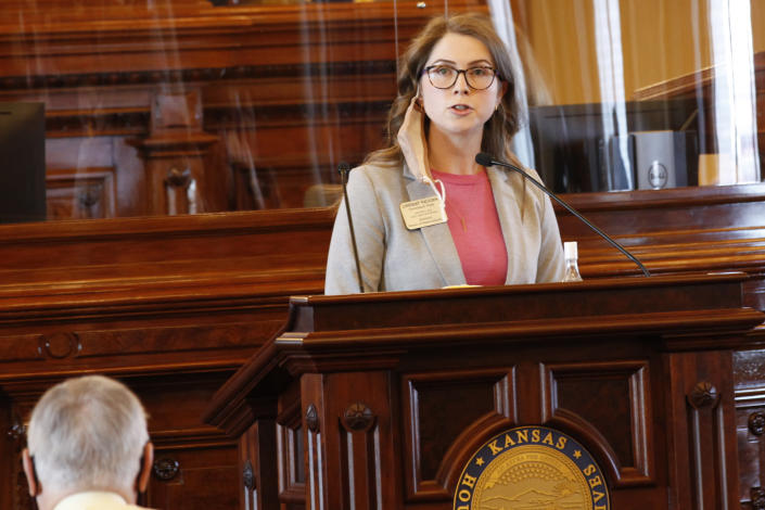 Kansas state Rep. Lindsay Vaughn, D-Overland Park, speaks against a proposed anti-abortion amendment to the Kansas Constitution during a House debate, Friday, Jan. 22, 2021, at the Statehouse in Topeka, Kan. Vaughn said if the amendment is enacted, it is likely to lead to a state ban on abortion, something backers of the measure dispute. (AP Photo/John Hanna, Pool)