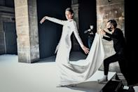 A model presents a creation by French designer Stephane Rolland during the shooting of a film designed to replace Haute Couture fashion shows in Paris on January 18, 2021