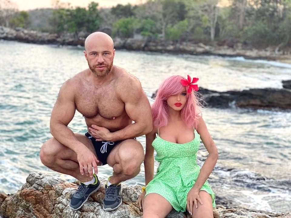 Yuri Tolochko and his sex doll, Margo on a holiday in Thailand