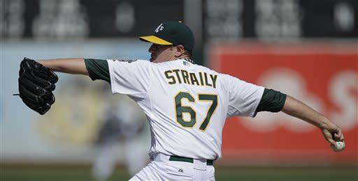 Oakland Athletics' Dan Straily works against the Seattle Mariners in the first inning of a baseball game Saturday, Sept. 29, 2012, in Oakland, Calif. (AP Photo/Ben Margot)