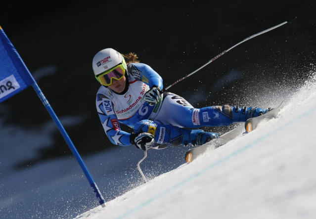 SCHLADMING, AUSTRIA - MARCH 15: (FRANCE OUT) Leanne Smith of the USA competes during the Audi FIS Alpine Ski World Cup Women's SuperG on March 15, 2012 in Schladming, Austria. (Photo by Alexis Boichard/Agence Zoom/Getty Images)