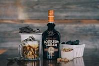 """<p>Combine 50ml <a href=""""https://www.amazon.co.uk/Buffalo-Trace-Bourbon-Cream-Liqueurs/dp/B019FN2136"""" rel=""""nofollow noopener"""" target=""""_blank"""" data-ylk=""""slk:Buffalo Trace Distillery Bourbon Cream,"""" class=""""link rapid-noclick-resp"""">Buffalo Trace Distillery Bourbon Cream, </a>100ml root beer and 1 scoop vanilla ice-cream in glass, and top with whipped cream and chocolate syrup. </p>"""