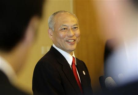 Tokyo Governor Yoichi Masuzoe speaks to the media at a hotel in Beijing