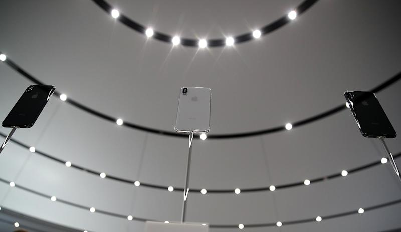 The new iPhone X is displayed during an Apple special event at the Steve Jobs Theatre on the Apple Park campus on September 12, 2017 in Cupertino, California: Justin Sullivan/Getty Images