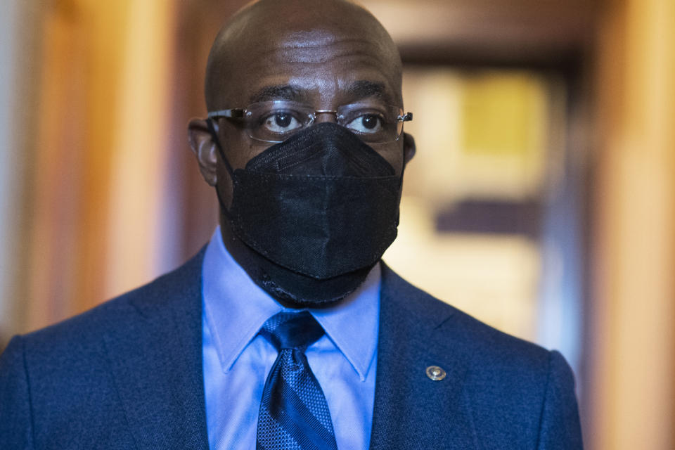 Sen. Raphael Warnock, D-Ga., is seen during a Senate vote in the Capitol on Tuesday, March 23, 2021. (Tom Williams/CQ Roll Call via Getty Images)