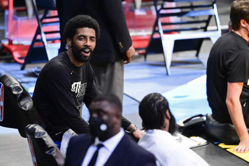 Kyrie Irving was not present for the Brooklyn Nets' media day activities on Monday. (Steven Ryan/Getty Images)