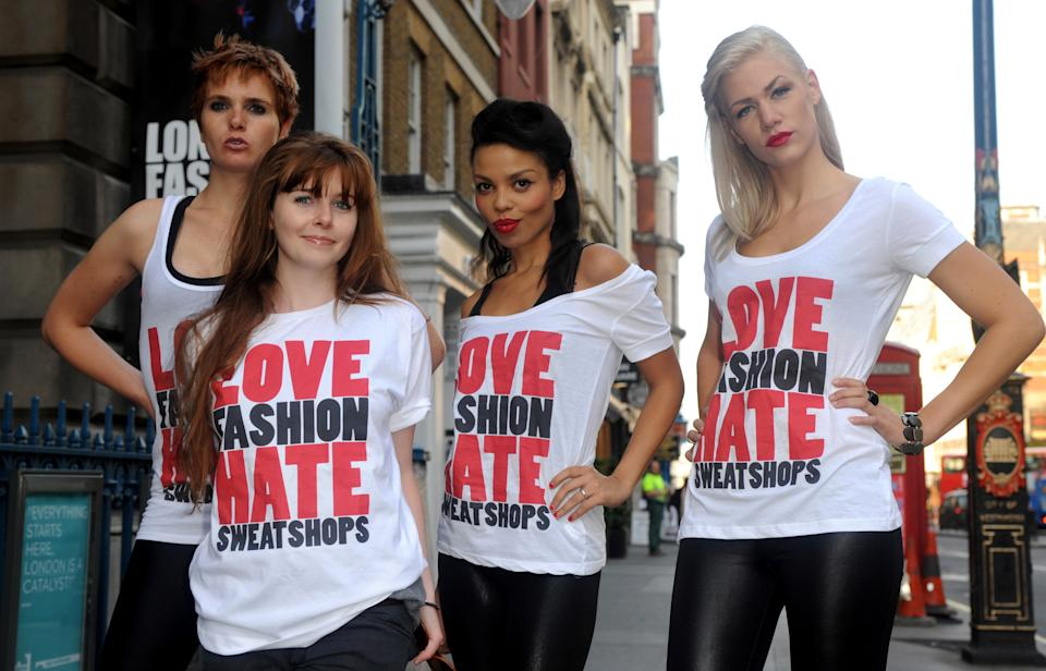 Models (from left to right) Lucy Fizz, Stacey Dooley, Emma Dabiri and Vanessa Knight launch War on Want's Love Fashion Hate Sweatshops campaign outside London Fashion Week's main venue - The BFC tent, at Somerset House, central London.