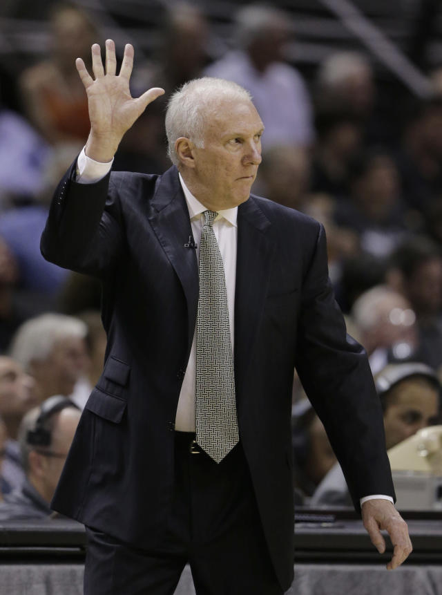 San Antonio Spurs coach Gregg Popovich signals to his players during the first half of Game 2 of the opening-round NBA basketball playoff series against the Dallas Mavericks, Wednesday, April 23, 2014, in San Antonio. (AP Photo/Eric Gay)