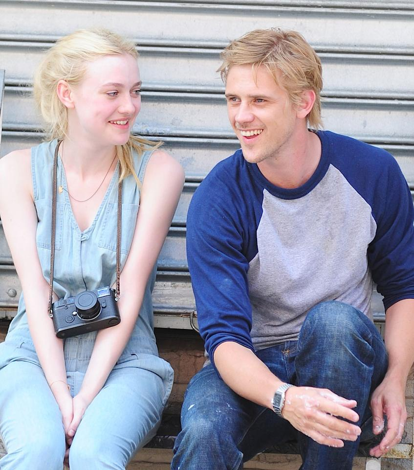 """Dakota Fanning and Boyd Holbrook are seen on the set of """"Very Good Girls"""" on July 3, 2012 in New York City."""