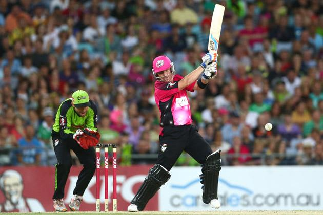Brad Haddin of the Sixers bats during the Big Bash League match between Sydney Thunder and the Sydney Sixers at ANZ Stadium on December 30, 2012 in Sydney, Australia.  (Photo by Mark Kolbe/Getty Images)