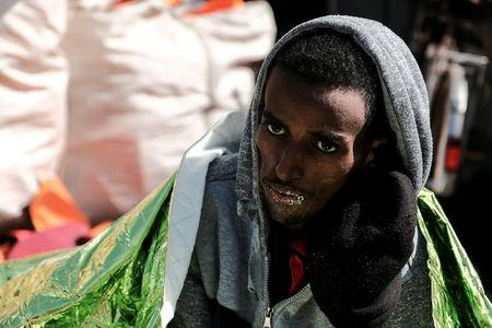 A 22-year-old Eritrean man is seen on  Proactiva Open Arms  rescue ship after being rescued in the Mediterranean sea off Libya coast March 11, 2018. Picture taken March 11, 2018. REUTERS/Kepa Fuentes