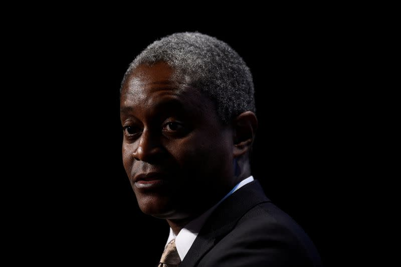 FILE PHOTO: President and Chief Executive Officer of the Federal Reserve Bank of Atlanta Raphael Bostic speaks at a 2019 European Financial Forum event in Dublin