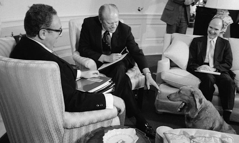 Scowcroft, right, with Henry Kissinger, left, and Gerald Ford in 1974.