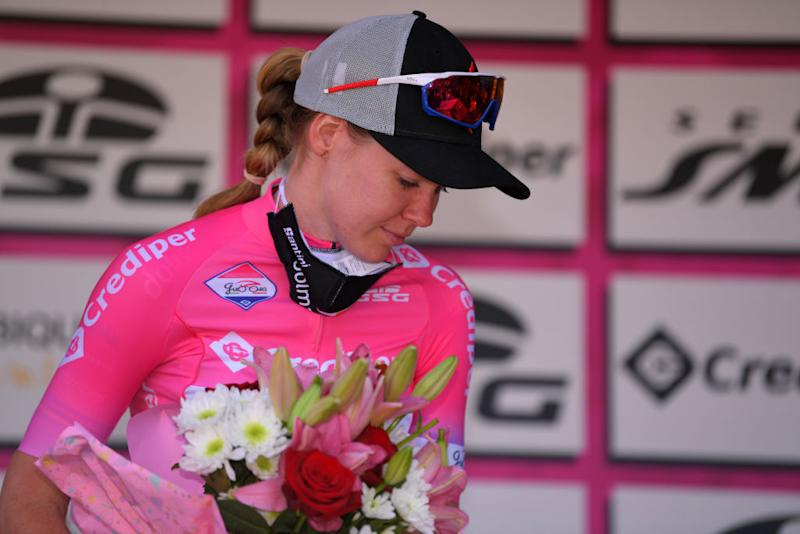 SANMARCOLACATOLA ITALY SEPTEMBER 18 Podium Anna Van Der Breggen of The Netherlands and Boels Dolmans Cycling Team Pink Leader Jersey Celebration Flowers during the 31st Giro dItalia Internazionale Femminile 2020 Stage 8 a 915km stage from Castelnuovo della Daunia to San Marco la Catola 640m GiroRosaIccrea GiroRosa on September 18 2020 in San Marco la Catola Italy Photo by Luc ClaessenGetty Images