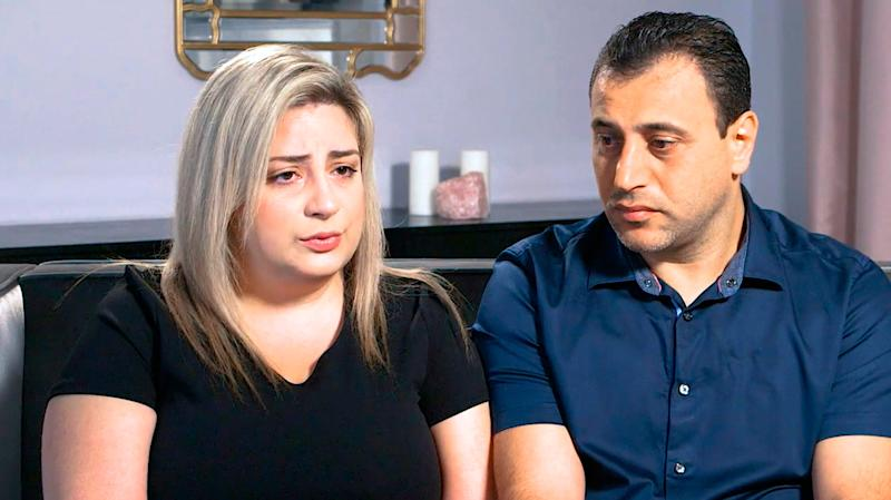 Anni, left, and Ashot Manukyan describe their lawsuit against a fertility clinic during an interview in Los Angeles. The Southern California couple claim their embryo was mistakenly implanted in a New York woman, who gave birth to their son as well as a second boy belonging to another couple. (Peiffer Wolf Carr & Kane via AP)