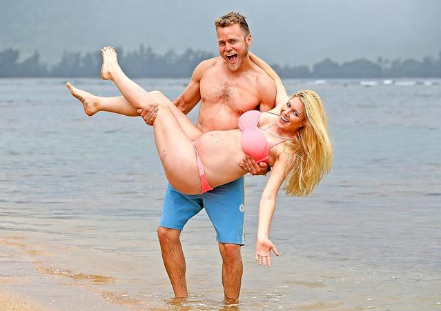 <p>Ching! The familiar faces struck a pose for the cameras on just another day at the beach in Hawaii, when Heidi happened to be wearing a bikini designed by another <em>Hills</em> alum, Audrina Patridge. (Photo: BACKGRID) </p>