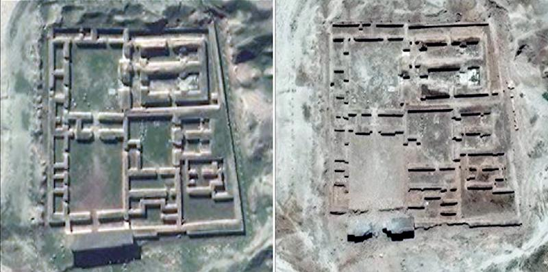 Satellite pictures collected on June 3, 2016 (R) and on January 12, 2016 by the UN Institute for Training and Research (UNITAR) shows before (L) and after images of the Nabu Temple in the ancient city of Nimrud, northern Iraq (AFP Photo/)