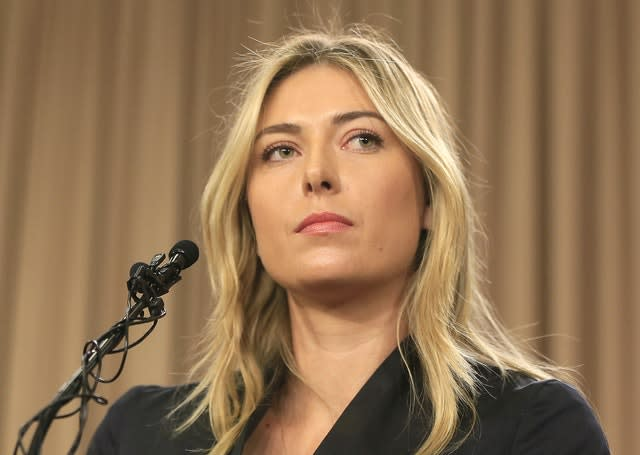 Sharapova announced she had failed a drug test for meldonium at a press conference in Los Angeles on March 7, 2016 – she was banned for 15 months (Damian Dovarganes/AP)