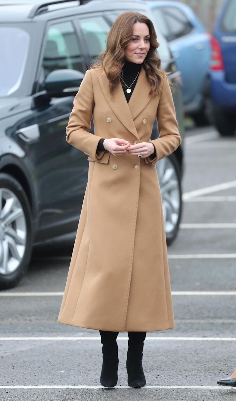 Catherine, Duchess of Cambridge arrives at Ely and Careau Childrens Centre on January 22, 2020 in Cardiff, Wales. The visit is part of HRH's 24-hour tour of the country to launch '5 big questions on the under 5s'.