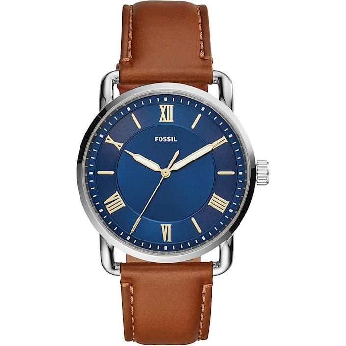 Copeland Quartz Stainless Steel and Leather  Watch, Color: Smoke, Brown (Model: FS5664)