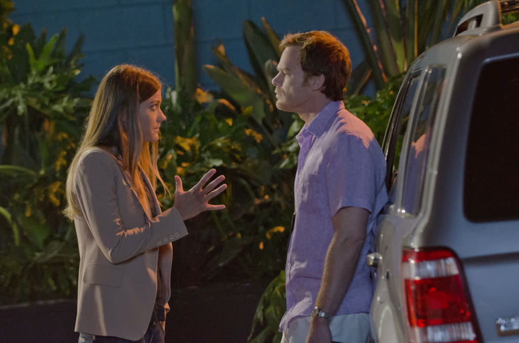 "Jennifer Carpenter as Debra Morgan and Michael C. Hall as Dexter Morgan in the ""Dexter"" episode, ""Run."""