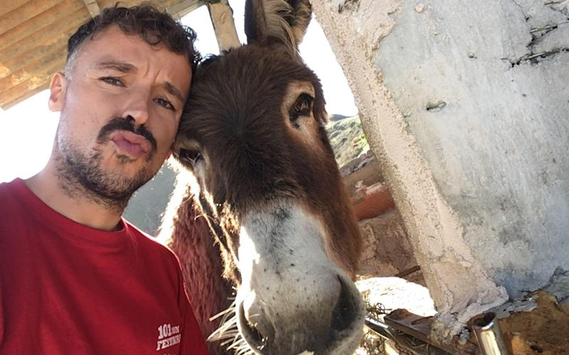 The 8-year-old donkey Baldomera was quite clearly emotional at seeing her owner, Ismael Fernandez, after two months apart - Caters News Agency