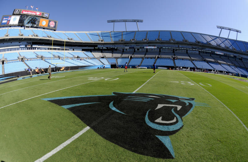 FILE - In this Sept. 22, 2013, file photo, a Carolina Panthers logo is displayed on the field at Bank of America Stadium prior to an NFL football game between the Carolina Panthers and the New York Giants in Charlotte, N.C. People familiar with the situation say hedge fund manager David Tepper has agreed to buy the Panthers from team founder Jerry Richardson for a record $2.2 billion. The people spoke to The Associated Press on Tuesday, May 15, 2018, on condition of anonymity because the team has not yet announced the sale. The purchase is subject to a vote at the NFL owners meeting next week in Atlanta. (AP Photo/Mike McCarn, File)