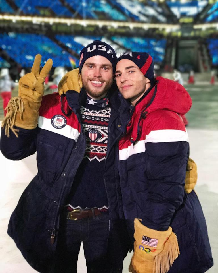 <p>Adam Rippon USA figure skater: Tonight I walked in the #OpeningCeremony and got to watch my old friend @yunakim light the Olympic flame. Representing the USA is one of the greatest honors of my life and being able to do it as my authentic self makes it all so much sweeter ️‍❤️(Photo via Instagram/adaripp) </p>