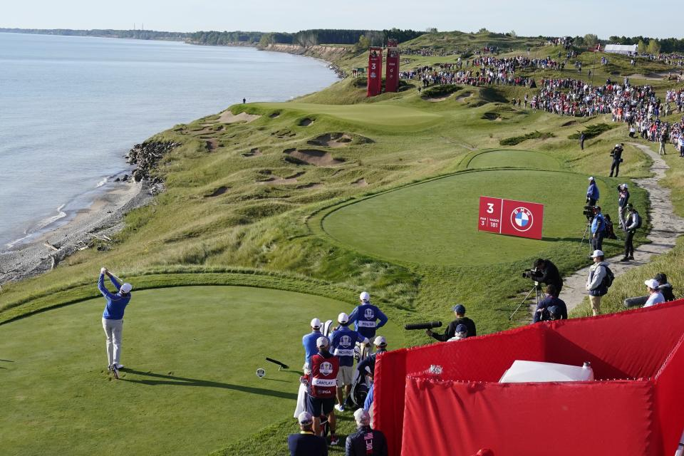 Team Europe's Ian Poulter hits from the third tee during a foursome match the Ryder Cup at the Whistling Straits Golf Course Friday, Sept. 24, 2021, in Sheboygan, Wis. (AP Photo/Charlie Neibergall)