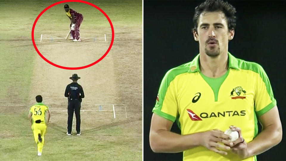 Mitchell Starc, pictured here bowling five-straight dot balls to Andre Russell.