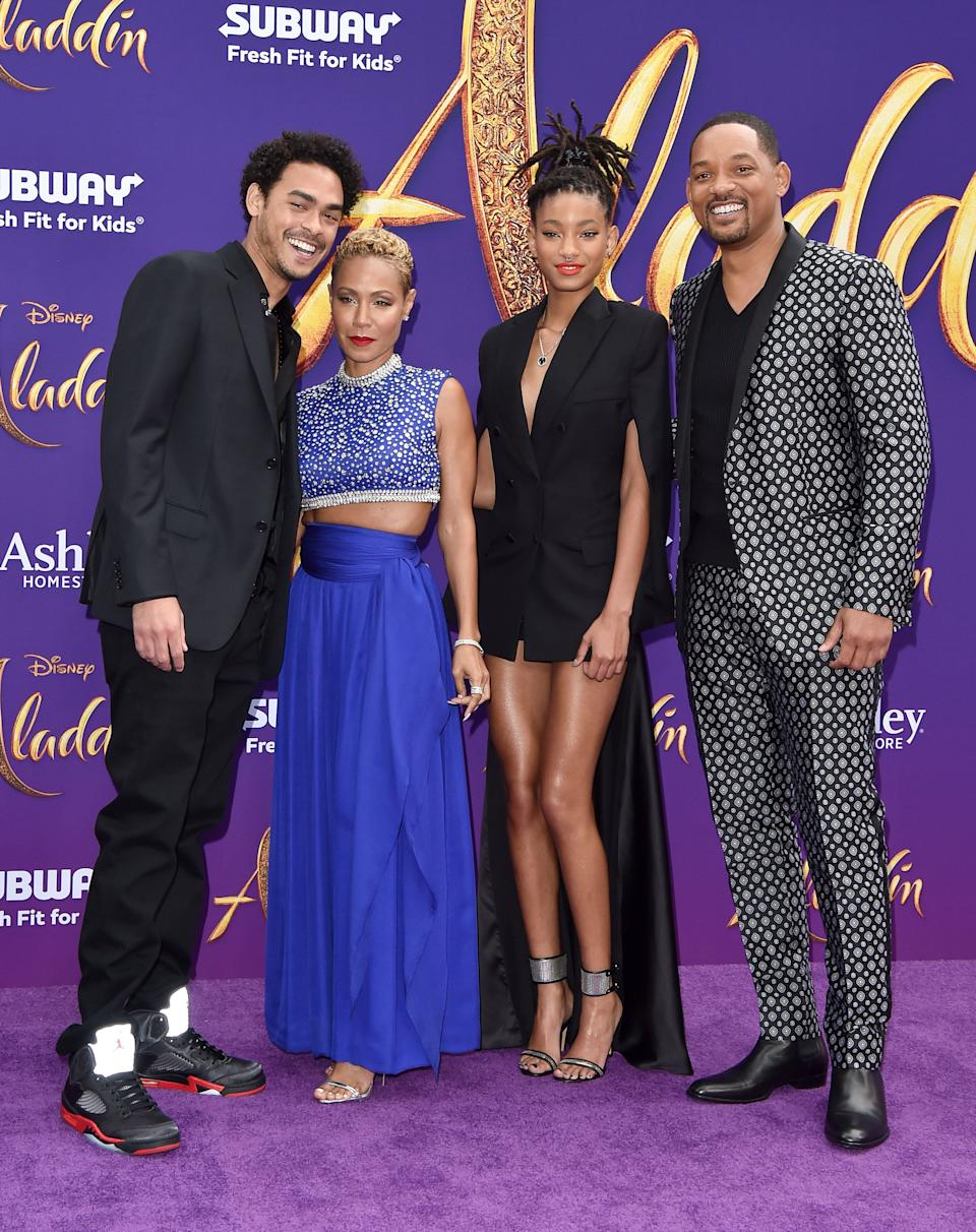 Trey Smith (far left), Jada Pinkett Smith (left) Willow Smith and Will Smith (far right) at the 'Aladdin' premiere at El Capitan Theatre in Hollywood. [Photo: Getty]