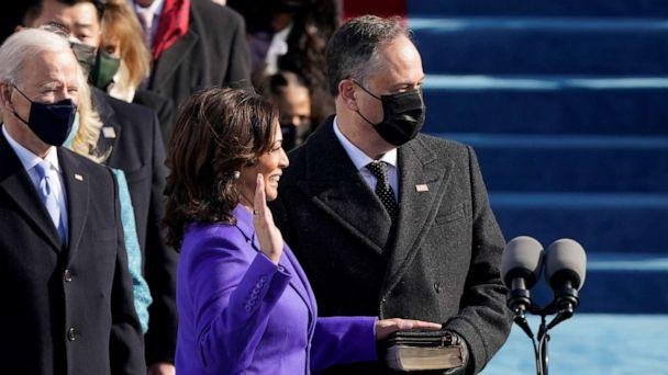 PHOTO: Kamala Harris is sworn in as Vice President as her spouse Doug Emhoff holds a bible during the inauguration of Joe Biden as the 46th President of the United States on the West Front of the U.S. Capitol in Washington, Jan. 20, 2021. (Patrick Semansky/Reuters)