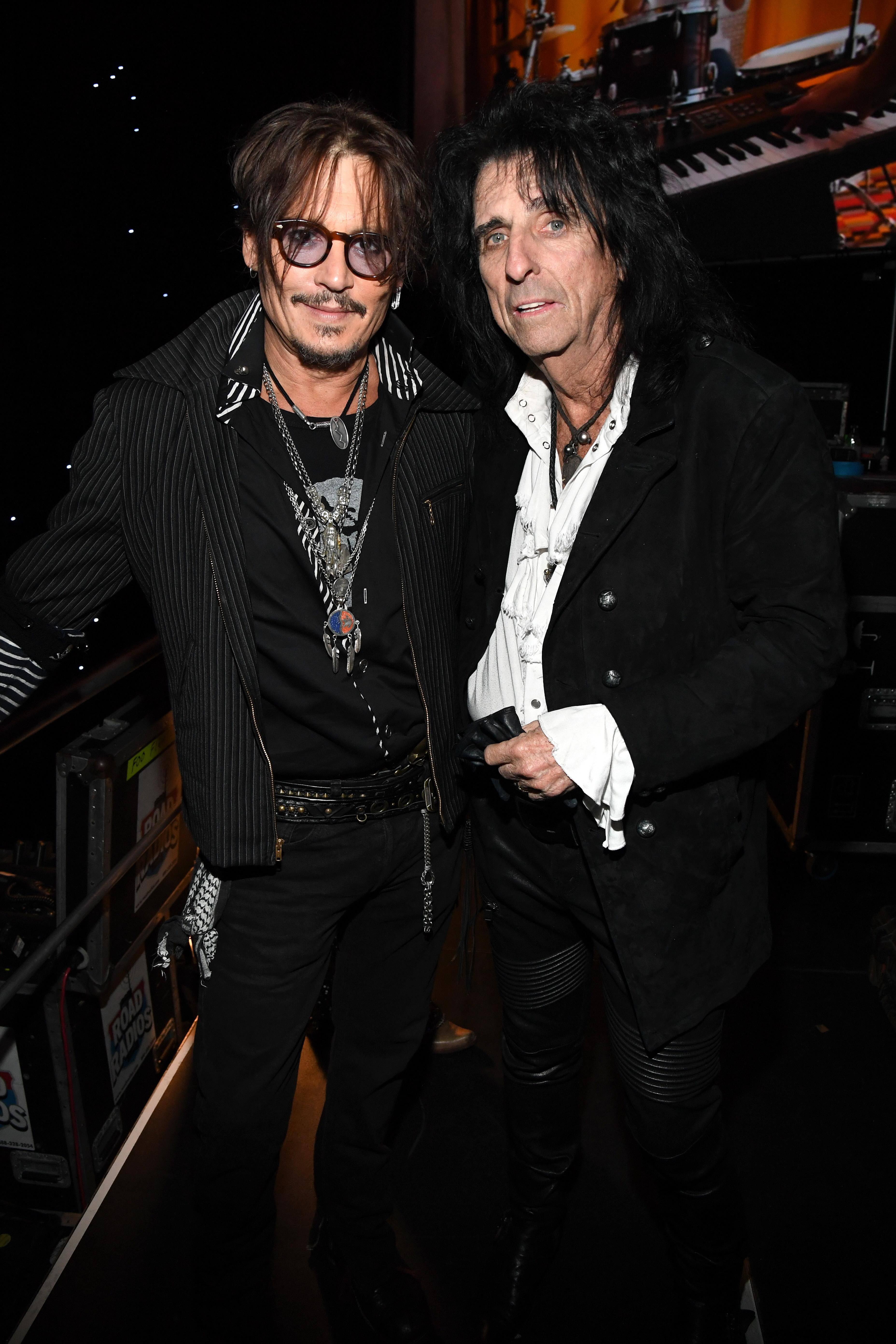Johnny Depp and Alice Cooper. (Photo: Kevin Mazur/Getty Images for The Recording Academy)