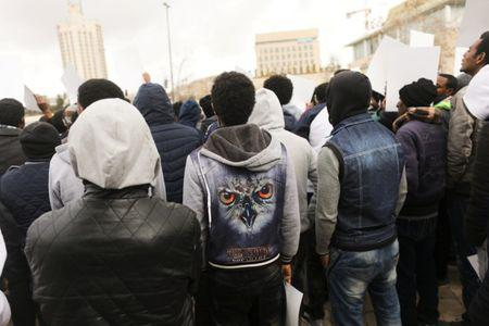 African migrants protest outside Israel's Supreme Court in Jerusalem