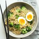 """<p>Jazz up basic ramen noodles with toasted sesame oil, quick-cooked broccoli and a jammy soft-boiled egg. To cut back on sodium, look for ramen varieties with less than 600 mg sodium per serving or use less of the seasoning packet. <a href=""""https://www.eatingwell.com/recipe/280863/sesame-instant-ramen-noodles-with-broccoli-soft-boiled-egg/"""" rel=""""nofollow noopener"""" target=""""_blank"""" data-ylk=""""slk:View Recipe"""" class=""""link rapid-noclick-resp"""">View Recipe</a></p>"""