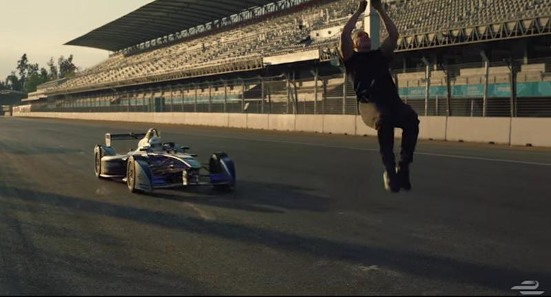 Watch: 'Skyfall' stuntman backflips over a race car as it