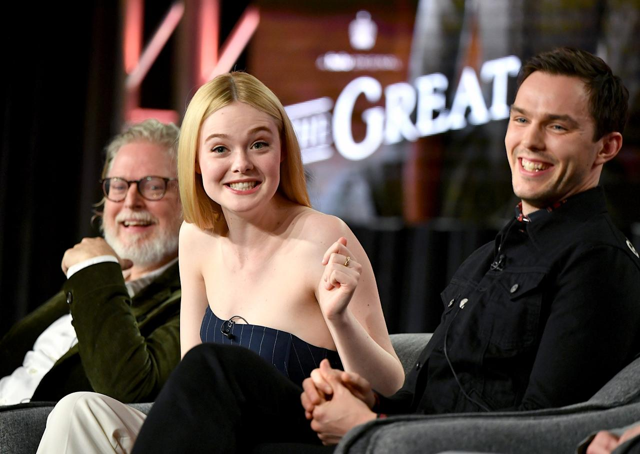 Elle Fanning gets animated on Friday while speaking with<em>The Great</em> writer Tony McNamara and costar Nicholas Hoult during the Hulu segment of the 2020 Winter TCA Press Tour at The Langham Huntington in Pasadena, California.