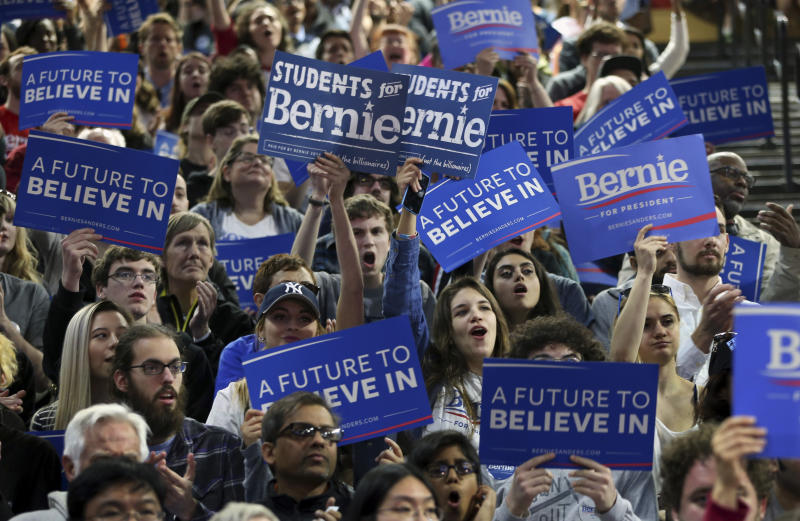 Sanders supporters at a rally in New Jersey, May 2016