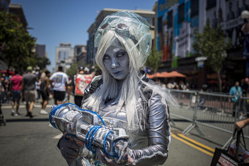 "SAN DIEGO, CALIFORNIA - JULY 21: Cosplayer Jasmine Honaker as Mrs. Freeze from ""Batman"" poses outside 2019 Comic-Con International on July 21, 2019 in San Diego, California. (Photo by Daniel Knighton/Getty Images)"