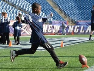 Matiwos Rumley, 7, won the New England Punt, Pass & Kick title at Gillette Stadium -- Facebook