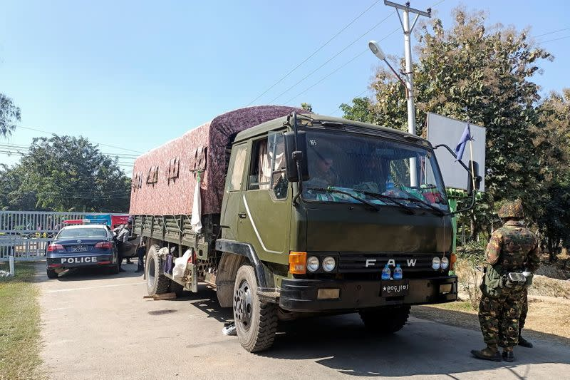 Myanmar army vehicle is parked outside the parliament members' residence, in Naypyitaw