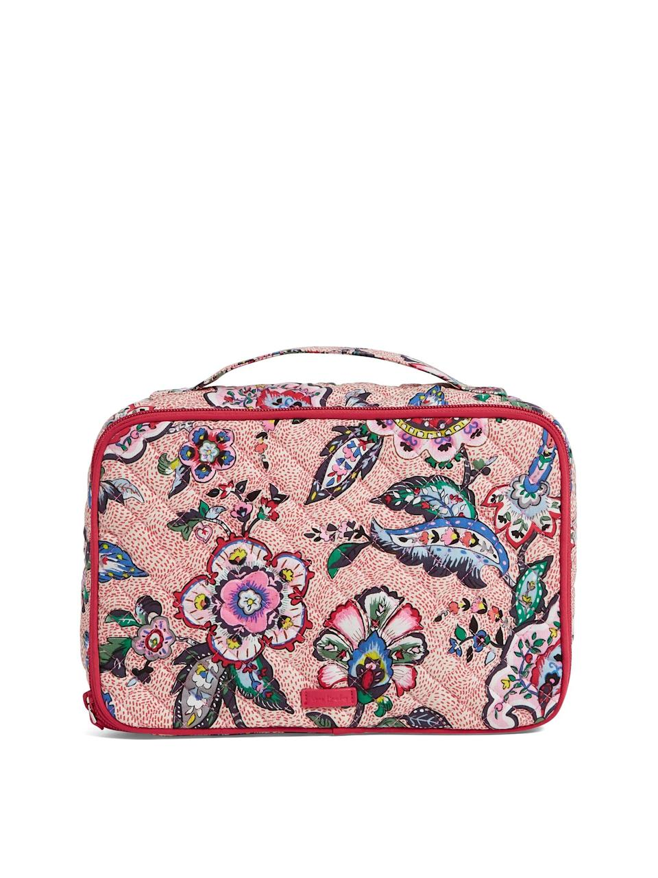 "<h3><strong>Vera Bradley </strong>Iconic Large Blush & Brush Case</h3><br><strong>The Sleepover Party-Ready Organizer</strong><br><br>The top handle makes it easy to carry, and the plush exterior reminds us of our favorite quilt at grandma's house — in the best way.<br><br><strong>The Hype: </strong>4.7 out of 5 stars and 47 reviews on <a href=""https://www.verabradley.com/us/product/Iconic-Large-Blush-&-Brush-Case/22115-22115M17"" rel=""nofollow noopener"" target=""_blank"" data-ylk=""slk:Vera Bradley"" class=""link rapid-noclick-resp"">Vera Bradley</a><br><br><strong>Organization Obsessives Say: </strong>""I love this cosmetic case! It is incredibly spacious with lots of storage compartments within. The clear flap that covers brushes is great for keeping them clean and the mesh pockets within the large compartment are great for organizing different items. I bring this bag with me whenever I travel and it holds all my makeup, lotions, shampoo/ conditioner, body wash, toothbrush and toothpaste. This makes traveling an ease because all of my cosmetics are kept together!"" — Caitlin, Vera Bradley Reviewer<br><br><strong>Vera Bradley</strong> Iconic Large Blush & Brush Case, $, available at <a href=""https://go.skimresources.com/?id=30283X879131&url=https%3A%2F%2Fwww.walmart.com%2Fip%2FIconic-Large-Blush-Brush-Case%2F608573657"" rel=""nofollow noopener"" target=""_blank"" data-ylk=""slk:Walmart"" class=""link rapid-noclick-resp"">Walmart</a>"