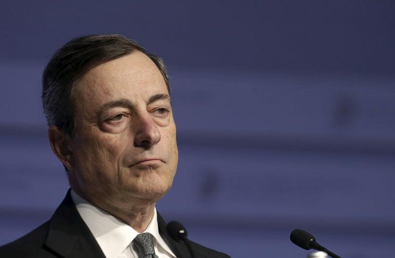 Mario Draghi listens at a news conference during an informal meeting of Ministers for Economic and Financial Affairs (ECOFIN) in Riga