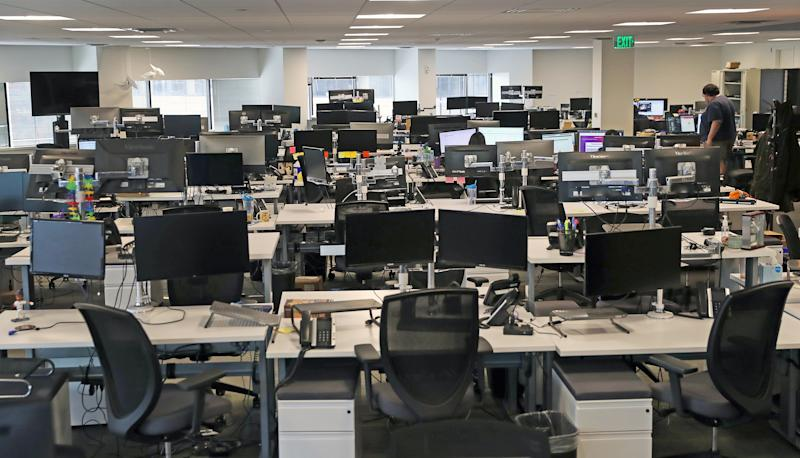 BOSTON, MA - MARCH 10: Nearly empty desks at the Fuze office in Boston on March 10, 2020, where its 150 on site employees are being asked to work from home amid coronavirus concerns. (Photo by David L. Ryan/The Boston Globe via Getty Images)