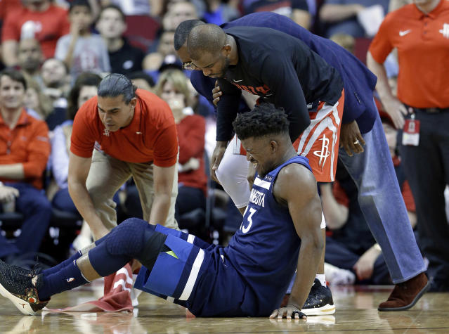 "Will the loss of <a class=""link rapid-noclick-resp"" href=""/nba/players/4912/"" data-ylk=""slk:Jimmy Butler"">Jimmy Butler</a> send the Timberwolves spiraling? (AP)"