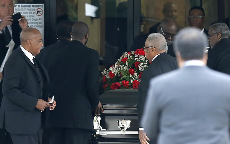 The casket carrying Botham Shem Jean arrived at the Greenville Avenue Church of Christ in Richardson, Texas on Thursday. (Stewart F. House via Getty Images)
