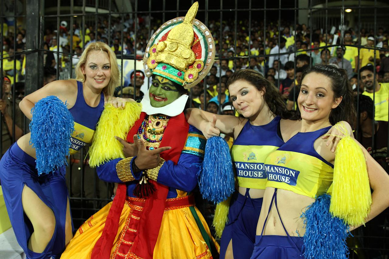 Cheer leaders during match 5 of the Pepsi Indian Premier League between The Chennai Superkings and the Mumbai Indians held at the MA Chidambaram Stadiumin Chennai on the 6th April 2013Photo by Prashant Bhoot-IPL-SPORTZPICS Use of this image is subject to the terms and conditions as outlined by the BCCI. These terms can be found by following this link:https://ec.yimg.com/ec?url=http%3a%2f%2fwww.sportzpics.co.za%2fimage%2fI0000SoRagM2cIEc&t=1498536083&sig=YK5xxUxs8f5N9jy_Z8xm5g--~C